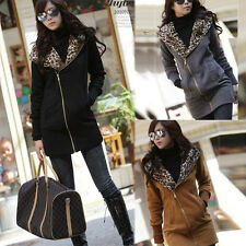 Women Leopard Hoodie Tops Fleece Coat Jacket Sweatshirt Zip Outwear