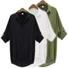 New Women Button Down Chiffon T Shirt Casual Long Sleeve Tops Blouse