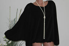 NEU Lagenlook Ballon Top Fledermaus Bluse Shirt Tunika sexy 38 40 42 44 Italy