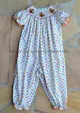 Smocked A Lot Girls Thanksgiving Turkey Fall Polka Dot Long Bubble Romper Dress
