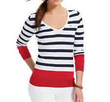 NWT Tommy Hilfiger Womens Long Sleeves Striped Sweater, LARGE