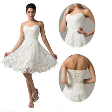 Ivory Lace Princess Short Formal WEDDING Party Prom Evening Pageant Gown Dresses