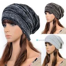 Unisex Women Men Knit Baggy Beanie Beret Winter Warm Oversized Ski Hat 3 Colors