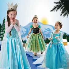 FROZEN Princess Anna Elsa Queen Girl Cosplay Costume Party Formal Dress
