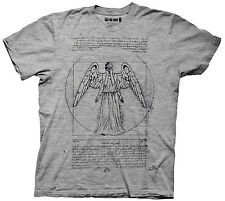 Doctor Who Vitruvian Weeping Angel LIC NWT Adult T-Shirt - Grey -