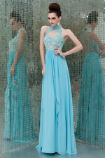2015 New High Neck Custom Evening Gowns Appliqued Chiffon Formal Long Prom Dress