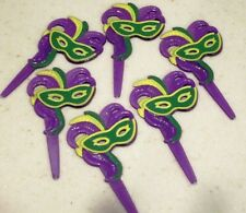 46 Mardi Gras Mask Cupcake Picks Carnivale Purple Green Gold 2 Styles to choose