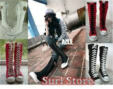 Girl Punk Rock Gothic Canvas High Knee Lace Up boots Women Sneaker Black White