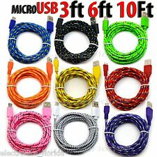 LOT Braided Micro usb data sync cable cord 3,5,10 FT for Samsung Galaxy LG b202