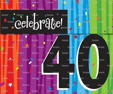 Happy 40th Birthday ~ Frosting Sheet Cake Topper ~ Edible Image ~ D5983