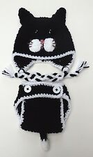 CROCHET BABY CAT HAT DIAPER COVER SET kitty infant toddler beanie photo prop