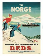 """""""Til Norge DFDS"""" skiing cruise tourism poster ON CANVAS various SIZES available"""