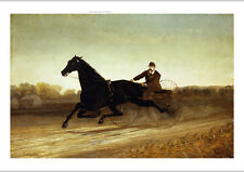 """LEIGHTON """"Racing Sulky"""" GALLOPING urgency reins moustache cap rural road CANVAS"""
