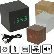 Voice Control Cube USB Wood Wooden LED Alarm Digital Desk Clock Thermometer USA
