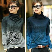 Women Turtleneck Branch Print Sweater Gradient Color Pullover Sweater Tops EPYG