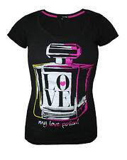 Womens Tally Weijl T Shirt Top Love Bottle Print Black Size 6 to 14 Ladies A34
