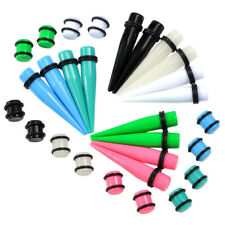 36pc Acrylic Tapers Plugs 14G-00G Double O-Rings Ear Gauges Stretching Kit Punk