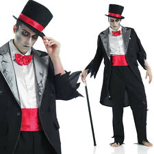 Mens Corpse Groom Costume Walking Dead Ghost Zombie Halloween Fancy Dress Outfit