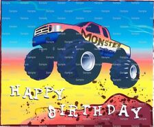 Happy Birthday Monster Truck ~ Frosting Sheet Cake Topper ~ Edible Image ~ D1332