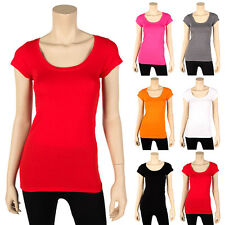 Womens Scoop Neck T-Shirt Cotton Stretch Short Sleeve Solid Crew Basic New S M L