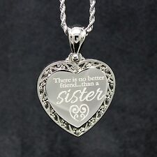 Sister's my best Friend Necklace - Engrave Personal Message On The Back