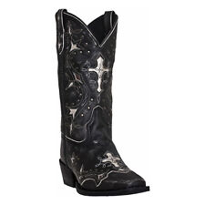 InStock Laredo 52030 Women's Black and Grey Silver Cross Western Boots