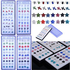 40PCS Whoesale Lots 925 Sterling Silver Multicolor Crystal Ear Stud Earring New