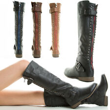 CONTRAST COLOR REAR ZIPPER STUD SLOUCH FLAT RIDING MOTORCYCLE MID CALF KNEE BOOT