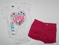 baby Gap NWT Girl 0 3 Mo Outfit Set Auntie Loves Me Bodysuit Top + Cuffed Shorts