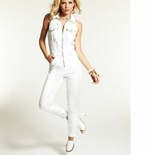 New Guess Women's Cara Stretch Fit Denim Jumpsuit in Off-White Destroy Wash