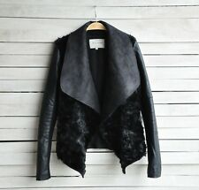 Fashion Vintage Women Slim Biker Motorcycle PU Leather Zipper Jacket Fur Coat