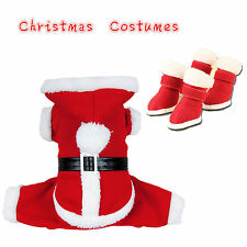 Classic Christmas Clothes Santa Boots For Pet Dog Cat Shoes Puppy Apparel