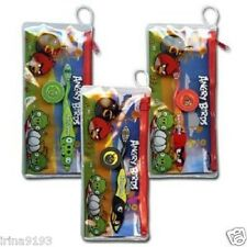 Angry Birds Travel Toothbrush Set with Cap Incl Zippered Pouch  Black,Red,Green