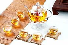 Borosilicate Glass Tea Set-Teapot with Infuser+6 Double Wall Cups+Warmer