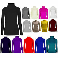 Women Ladies Long Sleeve Plain Polo Roll Neck Stretch Top Jumper Plus Size Shirt