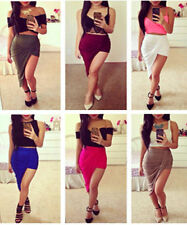 LADIES SEXY WRAP BANDED WAIST DRAPED CUT OUT ASYMMETRICAL HI LOW SKIRT NWT