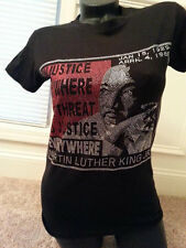 MARTIN LUTHER KING. LADIE'S AFRICAN AMERICAN BLACK HISTORY  RHINESTONE T-SHIRT.