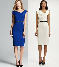 Black Halo Classic Jackie O Belted Sexy Women Cocktail Party Dress Blue White