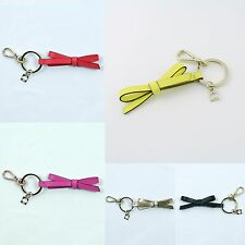 New AUTHENTIC Kate Spade Leather Bow Key Fobs Purse Charm Black Gold Pink Blue