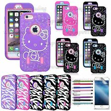 For iPhone Galaxy Heavy Duty Shockproof Rubber Hello Kitty Impact Hybrid Case