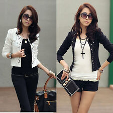 Fashion Women Suit OL Blazer Long Sleeve Rivet Lady Short Jacket Coat Outerwear