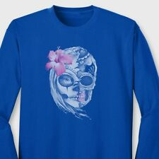 SUGAR SKULL Female Skeleton T-shirt Mexican Day Of The Dead Long Sleeve Tee