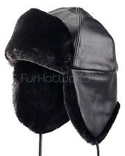 Black Sheared Beaver Trapper Hat -Brand: FRR -Made in Canada
