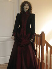 VICTORIAN / STEAMPUNK BUSTLE SKIRT OUTFIT (BLACK & RED)