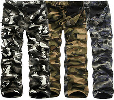 Mens Winter Cotton Fleece Lined Army Camo Cargo Combat Work Long Pants Trousers