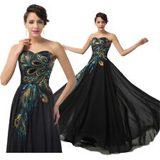 Long Chiffon Evening Formal Party Ball Gown Prom Bridesmaid Dress Vintage Retro