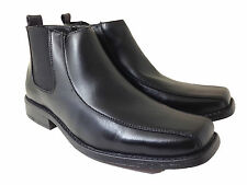 New Mens Black Ankle Boots Winter Leather Lined Causal Elastic Side Zipper Matn
