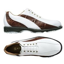 NEW FootJoy Men's Icon Spikeless 52283 White/Mahogany Golf Shoes -Mfr. Close-out