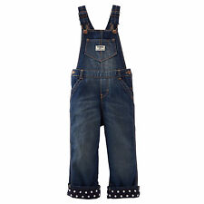 New OshKosh Girl Denim Blue Jean Overalls Polka Dot Fleece Lining NWT 2 3 4t 5t