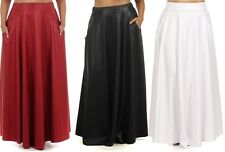PLUS SZ FAUX LEATHER HIGH WAIST SIDE POCKET FULL SWEEP LONG MAXI SKIRT 1X 2X 3X